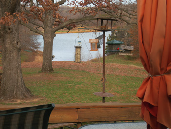 view of lake from deck of Wapello 120 acre listing