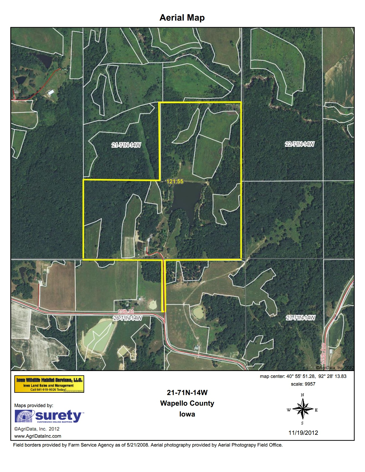 Aerial view of Wapello county Iowa 121 Acre Parcel