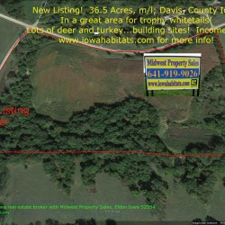 Aerial photo view of Davis county Iowa 36 acre farm for sale