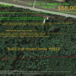 Aerial view of Wapello county Iowa 16 Acre timber for sale