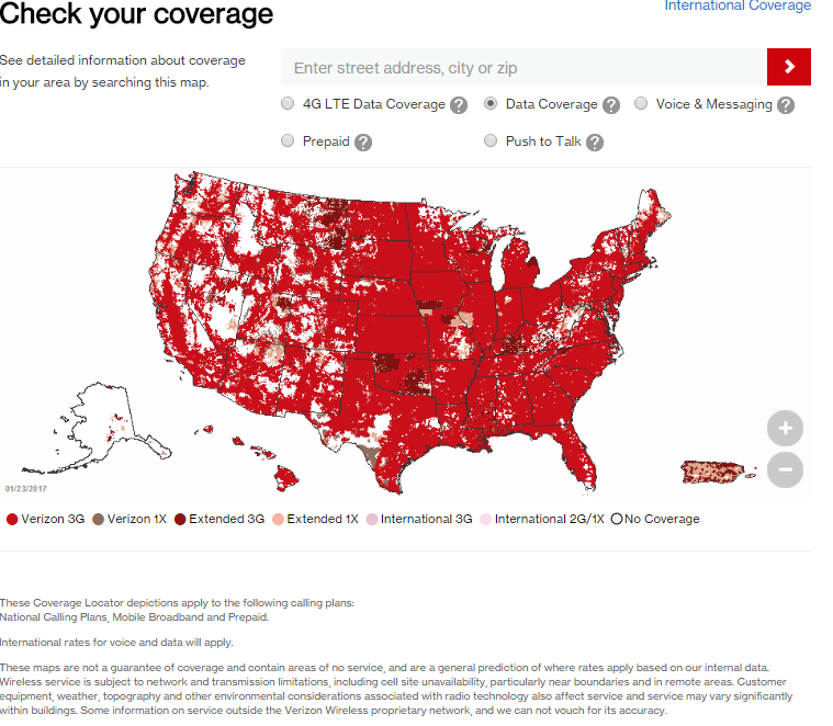 Verizon area coverage map for needed to use with the Moultrie wireless modem.
